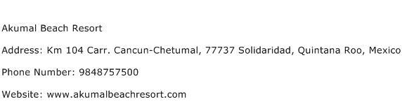 Akumal Beach Resort Address Contact Number