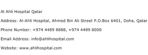Al Ahli Hospital Qatar Address Contact Number