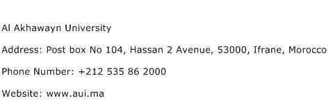 Al Akhawayn University Address Contact Number