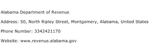 Alabama Department of Revenue Address Contact Number