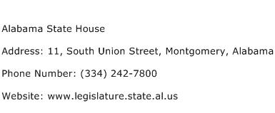 Alabama State House Address Contact Number