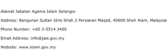 Alamat Jabatan Agama Islam Selangor Address Contact Number