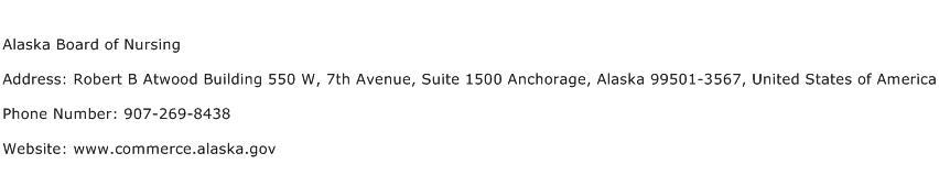 Alaska Board of Nursing Address Contact Number