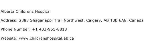 Alberta Childrens Hospital Address Contact Number