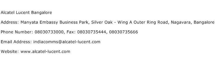 Alcatel Lucent Bangalore Address Contact Number