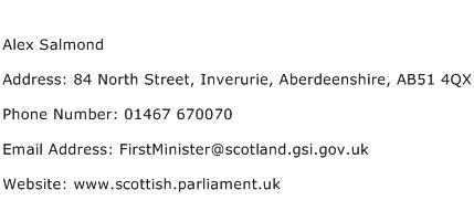 Alex Salmond Address Contact Number