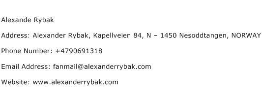 Alexande Rybak Address Contact Number