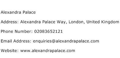 Alexandra Palace Address Contact Number