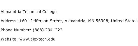Alexandria Technical College Address Contact Number