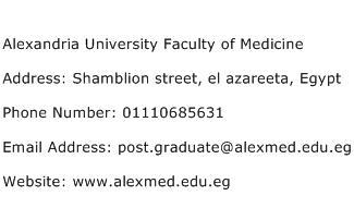 Alexandria University Faculty of Medicine Address Contact Number