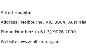 Alfred Hospital Address Contact Number