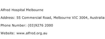 Alfred Hospital Melbourne Address Contact Number