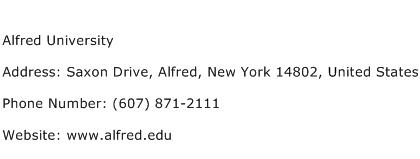 Alfred University Address Contact Number