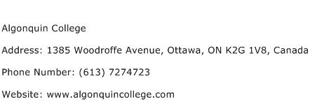 Algonquin College Address Contact Number