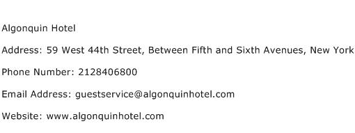 Algonquin Hotel Address Contact Number