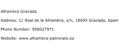 Alhambra Granada Address Contact Number