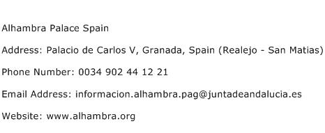 Alhambra Palace Spain Address Contact Number