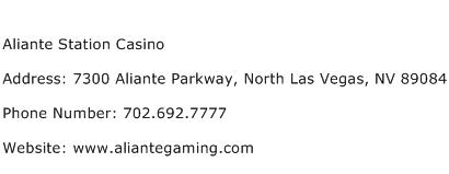 Aliante Station Casino Address Contact Number