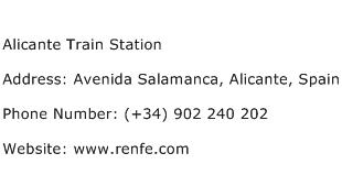 Alicante Train Station Address Contact Number