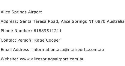Alice Springs Airport Address Contact Number