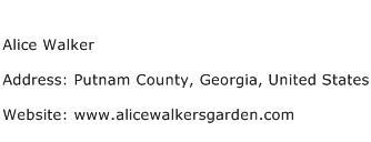 Alice Walker Address Contact Number