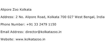 Alipore Zoo Kolkata Address Contact Number
