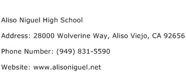 Aliso Niguel High School Address Contact Number