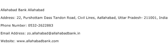 Allahabad Bank Allahabad Address Contact Number