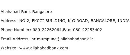 Allahabad Bank Bangalore Address Contact Number