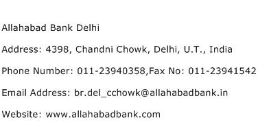 Allahabad Bank Delhi Address Contact Number