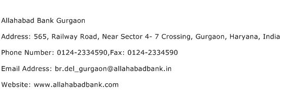 Allahabad Bank Gurgaon Address Contact Number