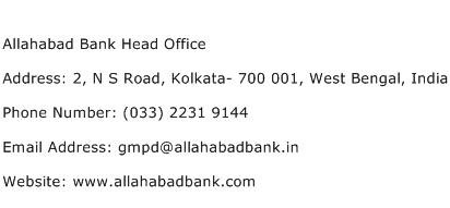 Allahabad Bank Head Office Address Contact Number