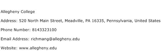 Allegheny College Address Contact Number