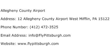 Allegheny County Airport Address Contact Number