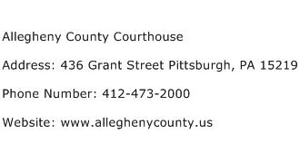Allegheny County Courthouse Address Contact Number