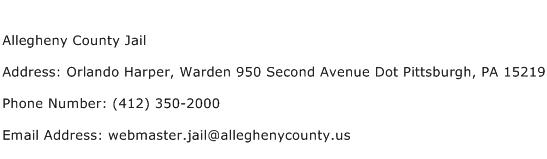 Allegheny County Jail Address Contact Number