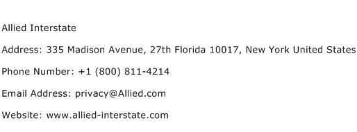 Allied Interstate Address Contact Number