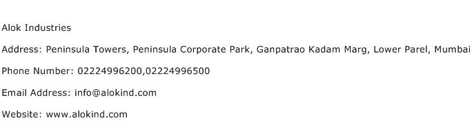 Alok Industries Address Contact Number