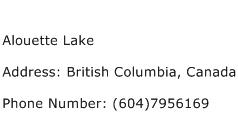 Alouette Lake Address Contact Number