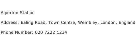 Alperton Station Address Contact Number