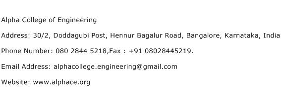 Alpha College of Engineering Address Contact Number