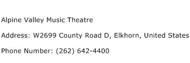 Alpine Valley Music Theatre Address Contact Number