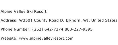 Alpine Valley Ski Resort Address Contact Number