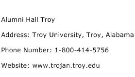 Alumni Hall Troy Address Contact Number
