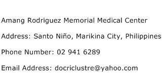 Amang Rodriguez Memorial Medical Center Address Contact Number
