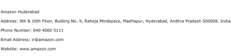 Amazon Hyderabad Address Contact Number