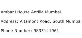 Ambani House Antilia Mumbai Address Contact Number