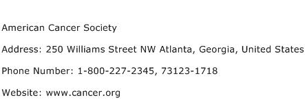 American Cancer Society Address Contact Number