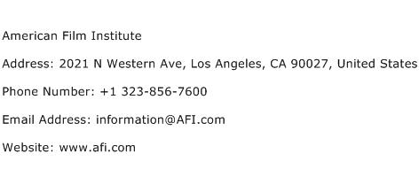 American Film Institute Address Contact Number