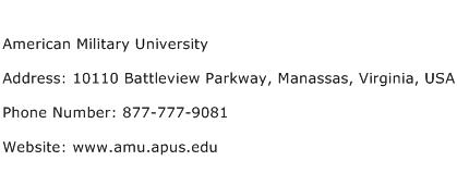 American Military University Address Contact Number